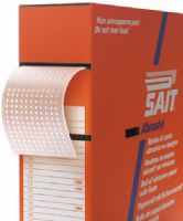 Foam backed pre-cut and standard abrasive sanding rolls.